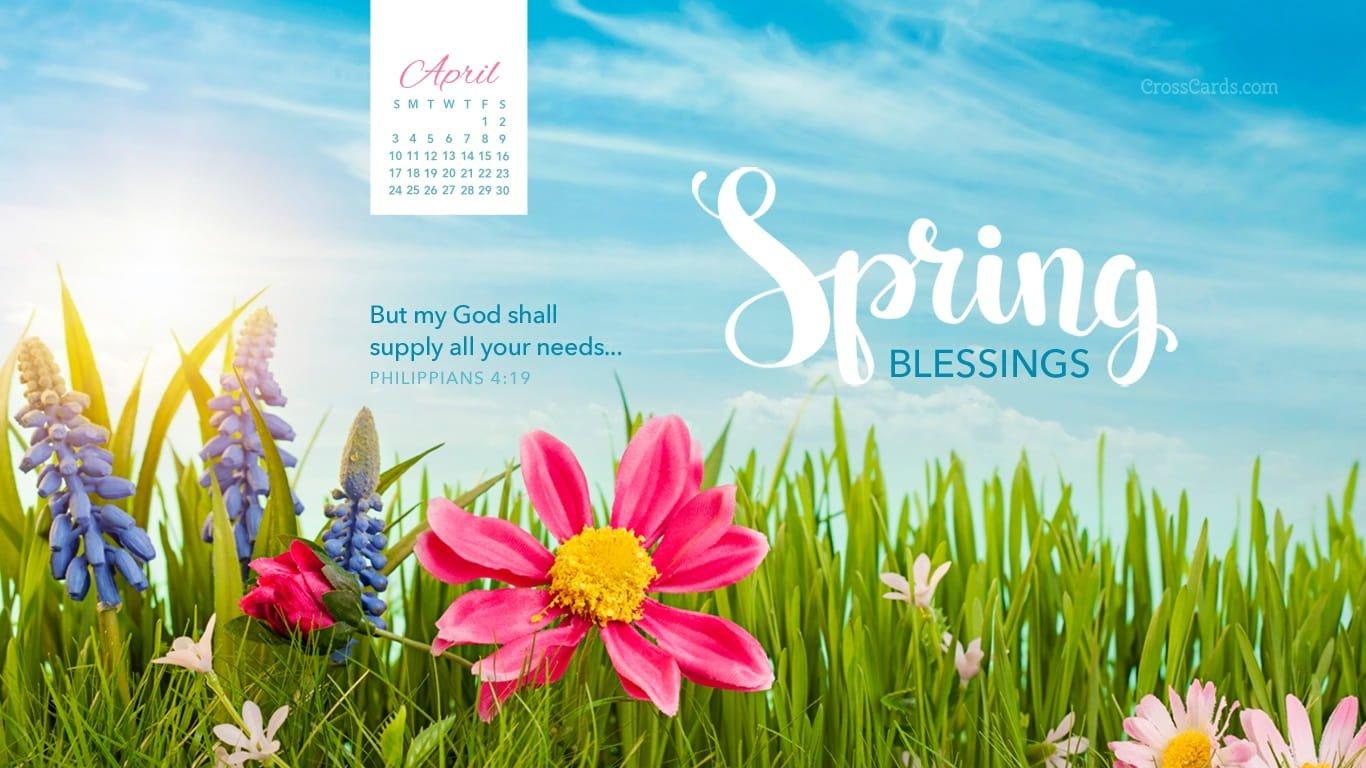 April 2016 - Spring Blessings Desktop Calendar- Free April Cross Cards Lune Calebders