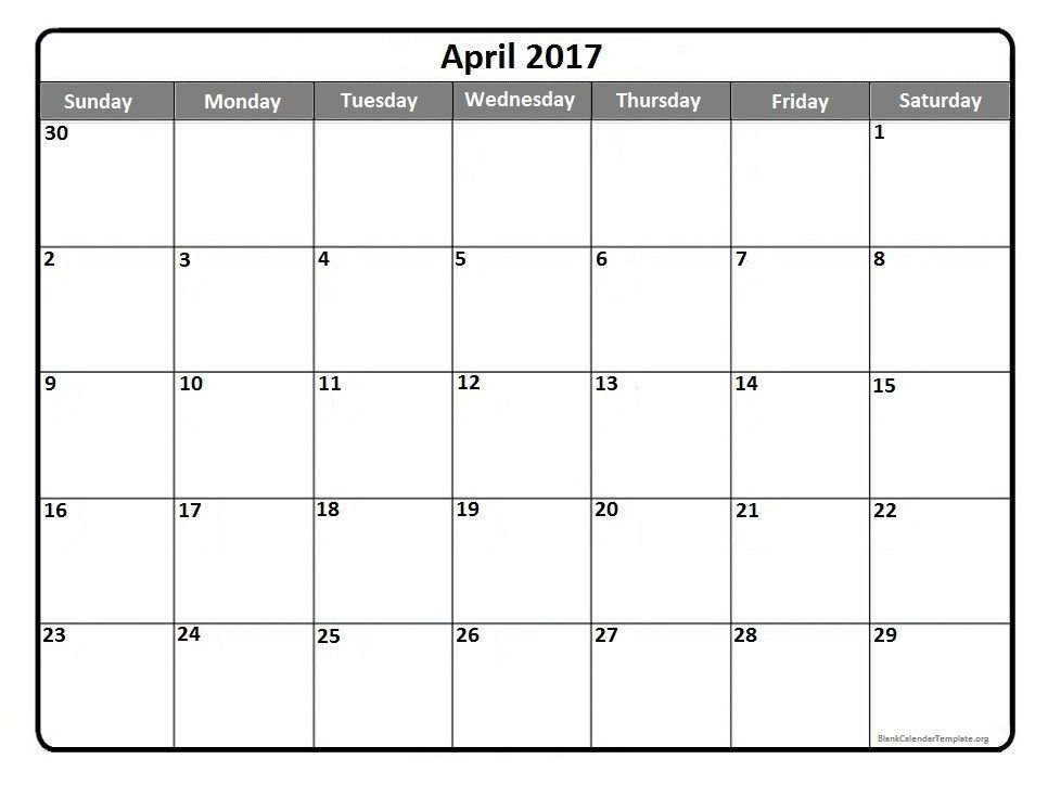 April 2017 Printable Calendar Template | Monthly Calendar Calendar 2 Week Block Printable Free April