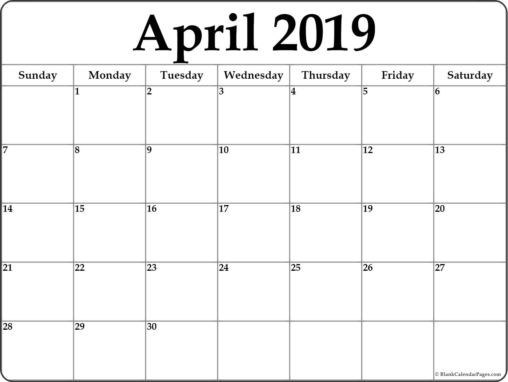 April 2019 Blank Calendar Collection. Image Of Month Calendar