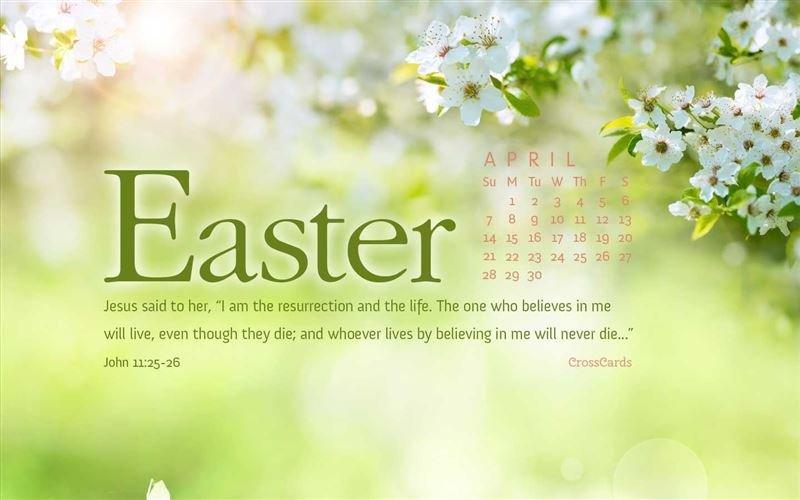 April 2019 - John 11:25-26 Desktop Calendar- Free April Cross Cards Lune Calebders