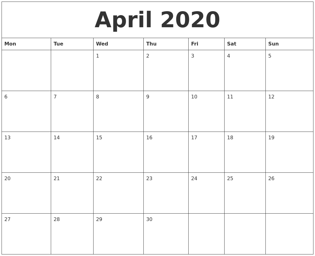 April 2020 Birthday Calendar Template April Birthday Templates Filable