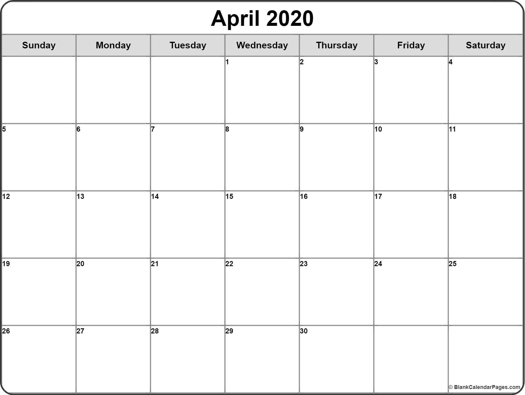 April 2020 Calendar | Free Printable Monthly Calendars Hp Month Calendar Printable
