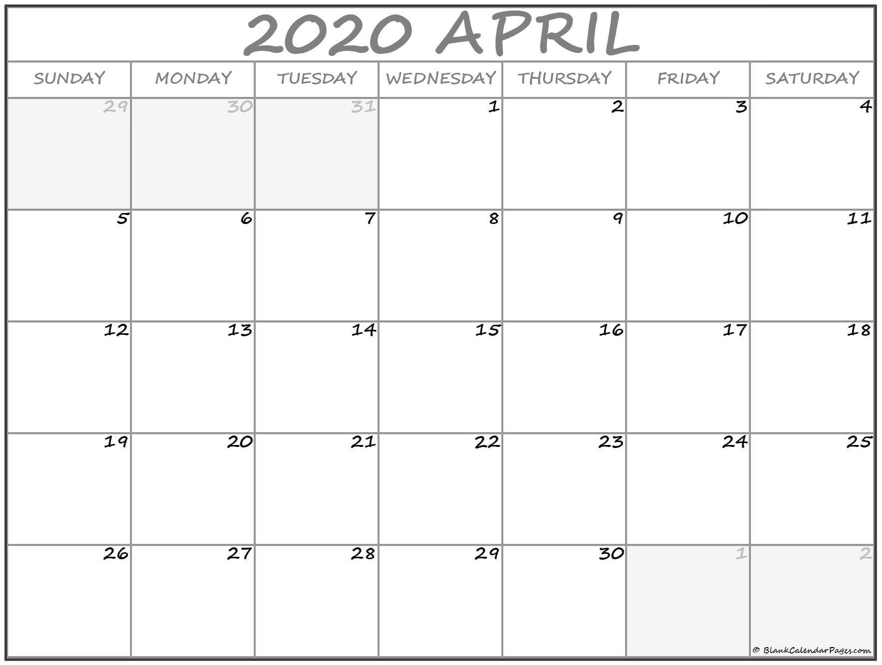 April 2020 Calendar | Free Printable Monthly Calendars Printable Month Calendar With Times