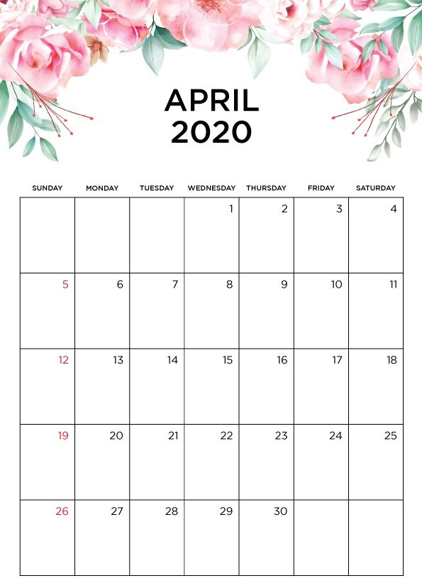 April 2020 Printable Calendar In Pdf Word Excel With Holidays Premade Calendar With Time Slots For April And May