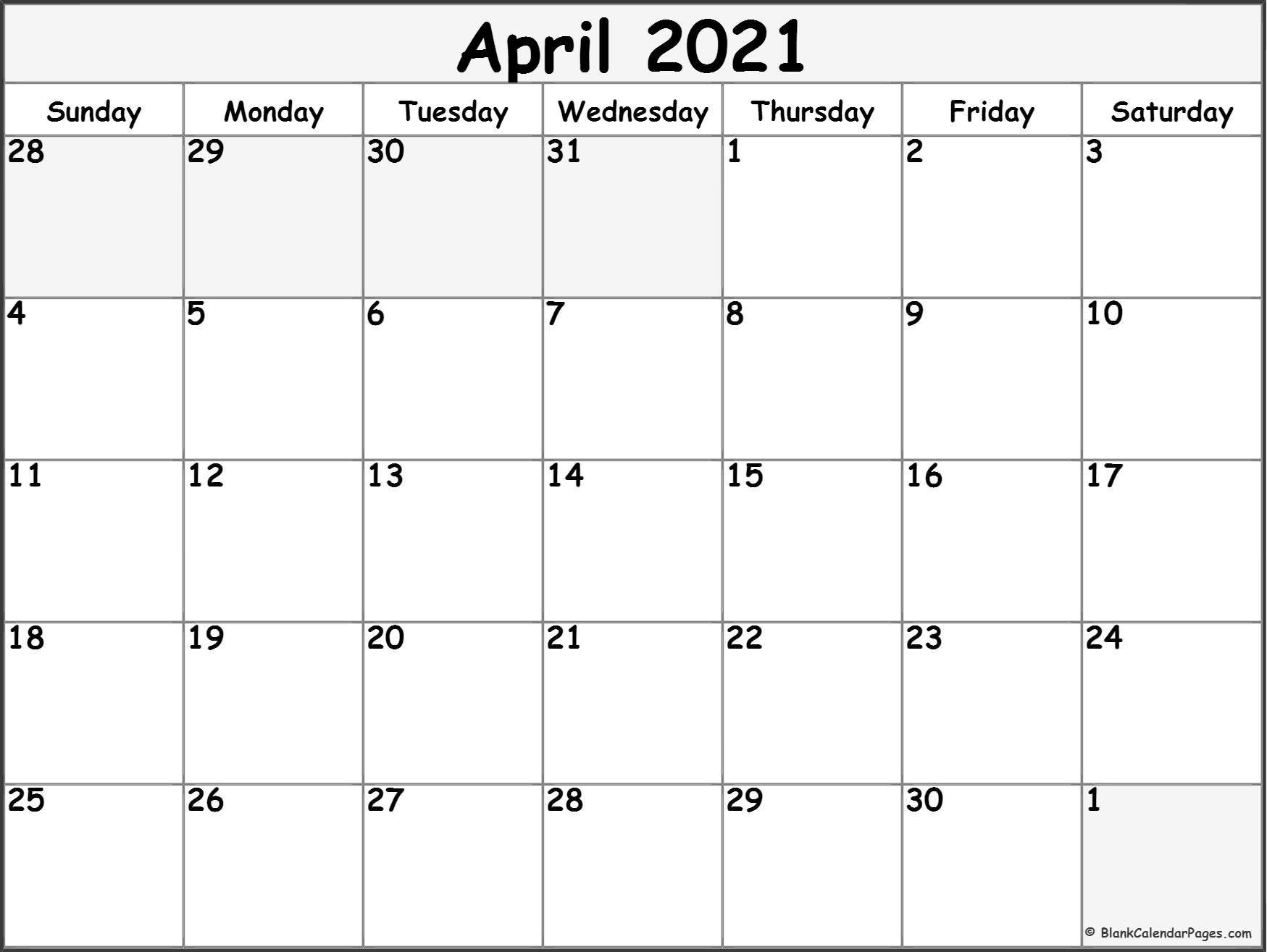 April 2021 Calendar | Free Printable Monthly Calendars Hp Month Calendar Printable