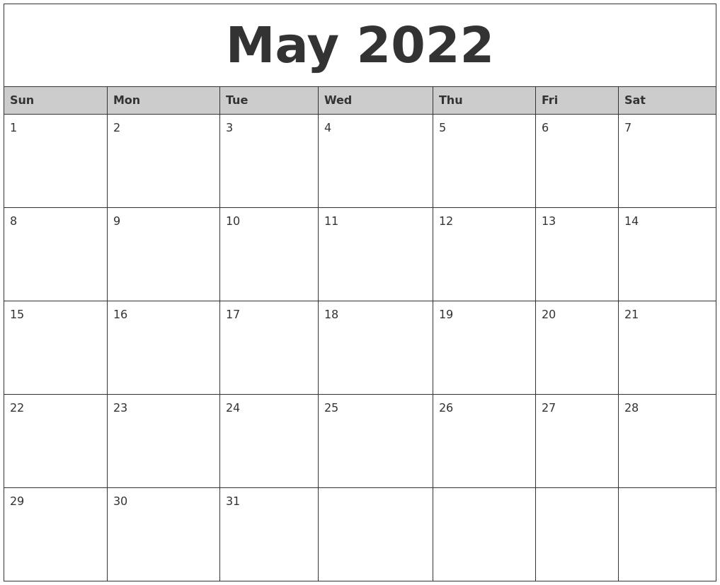 April 2022 Calanders Hp Month Calendar Printable
