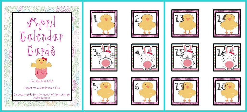 April Calendar Cards | Creating & Teaching Free Calendar With Number Cards