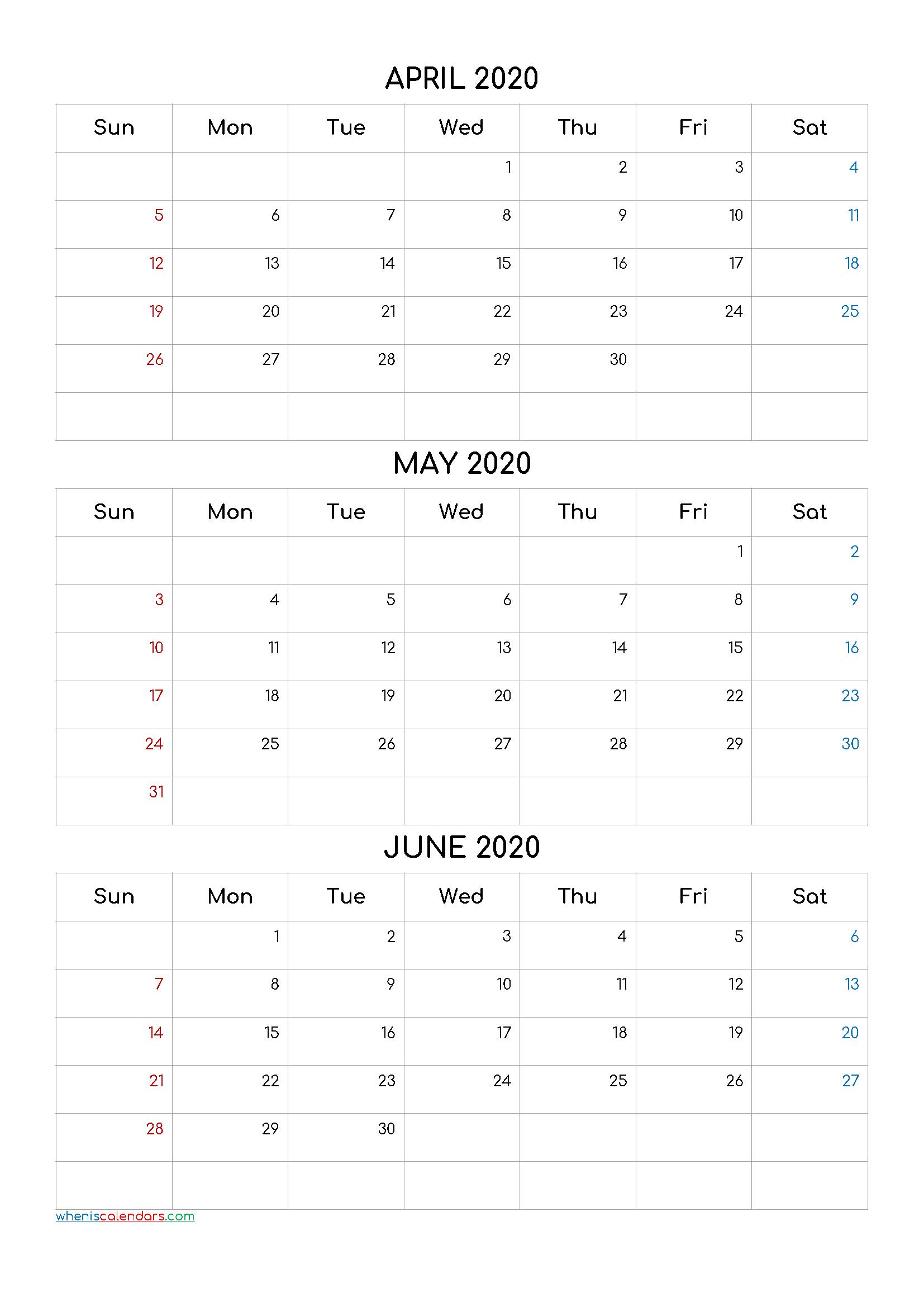 April May June 2020 Three Month Calendar Printable-20Cf4 3 Month Calendar April Free Printable