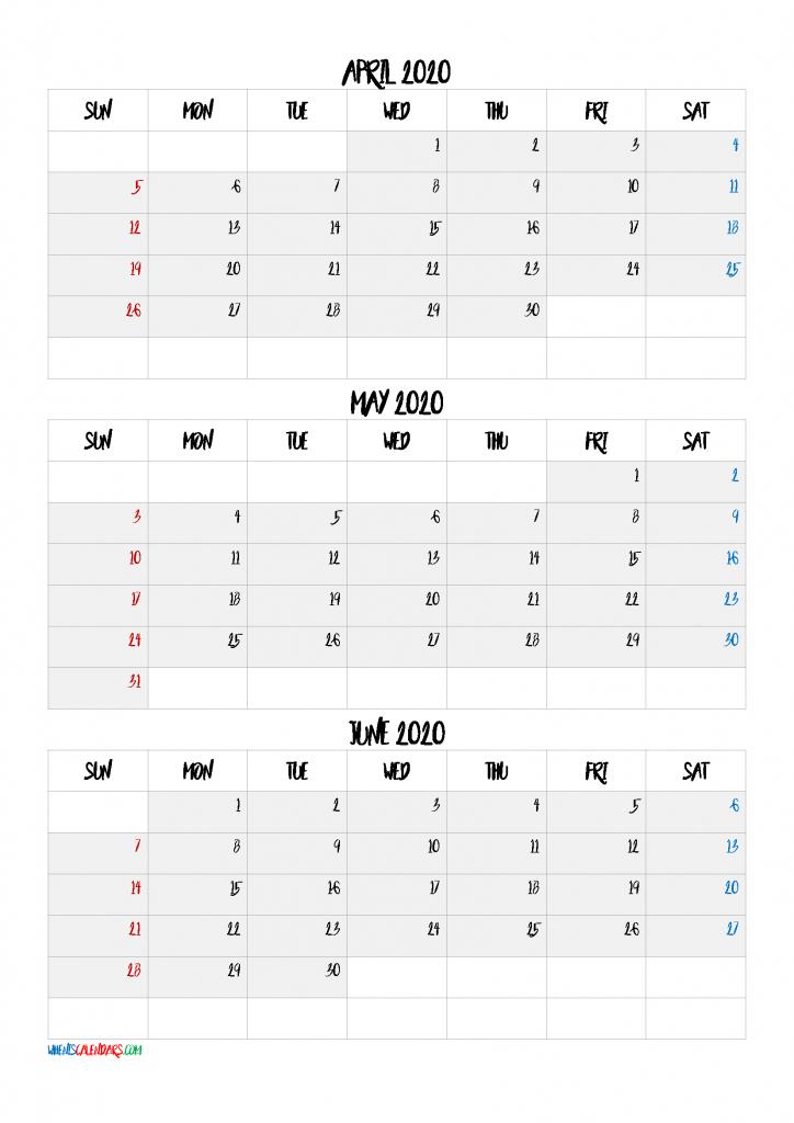 April May June 2021 Three Month Calendar-21Bb6 | Free 3 Month Calendar April Free Printable