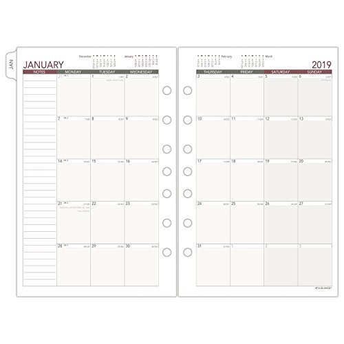 At-A-Glance 2019 Monthly Planner Refill, Day Runner, 8-1/2 8 1/2 By 11 Inch Monthly Calendar