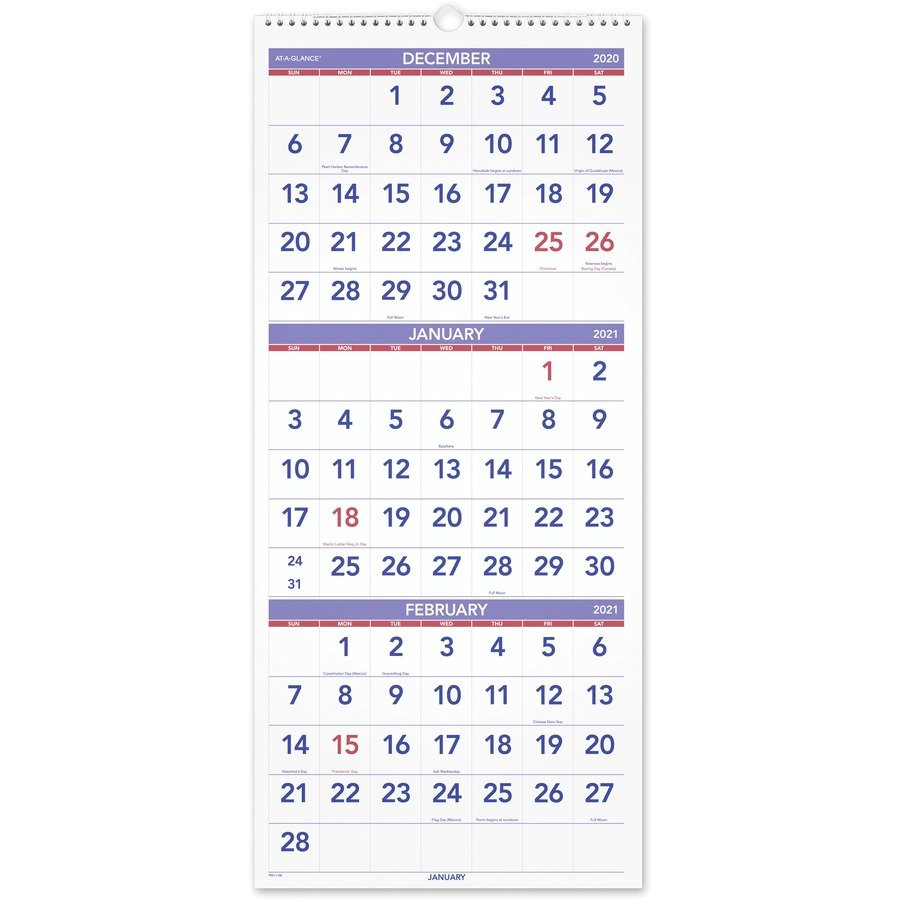 At-A-Glance 3 Month Reference Wall Calendar - Monthly - 1 3 Month Free Calendar