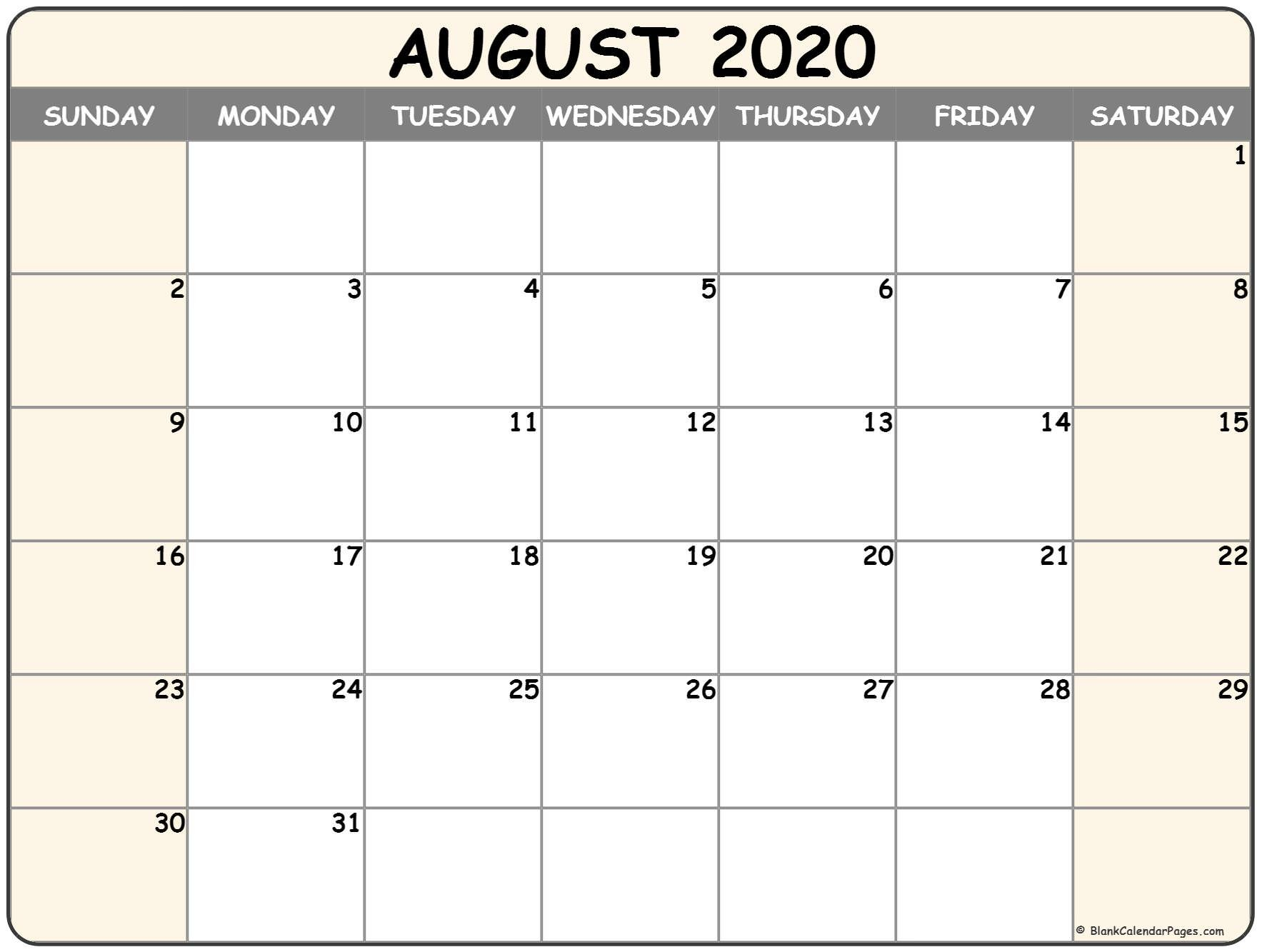 August 2020 Calendar | Free Printable Monthly Calendars Free Blank Calendar Page