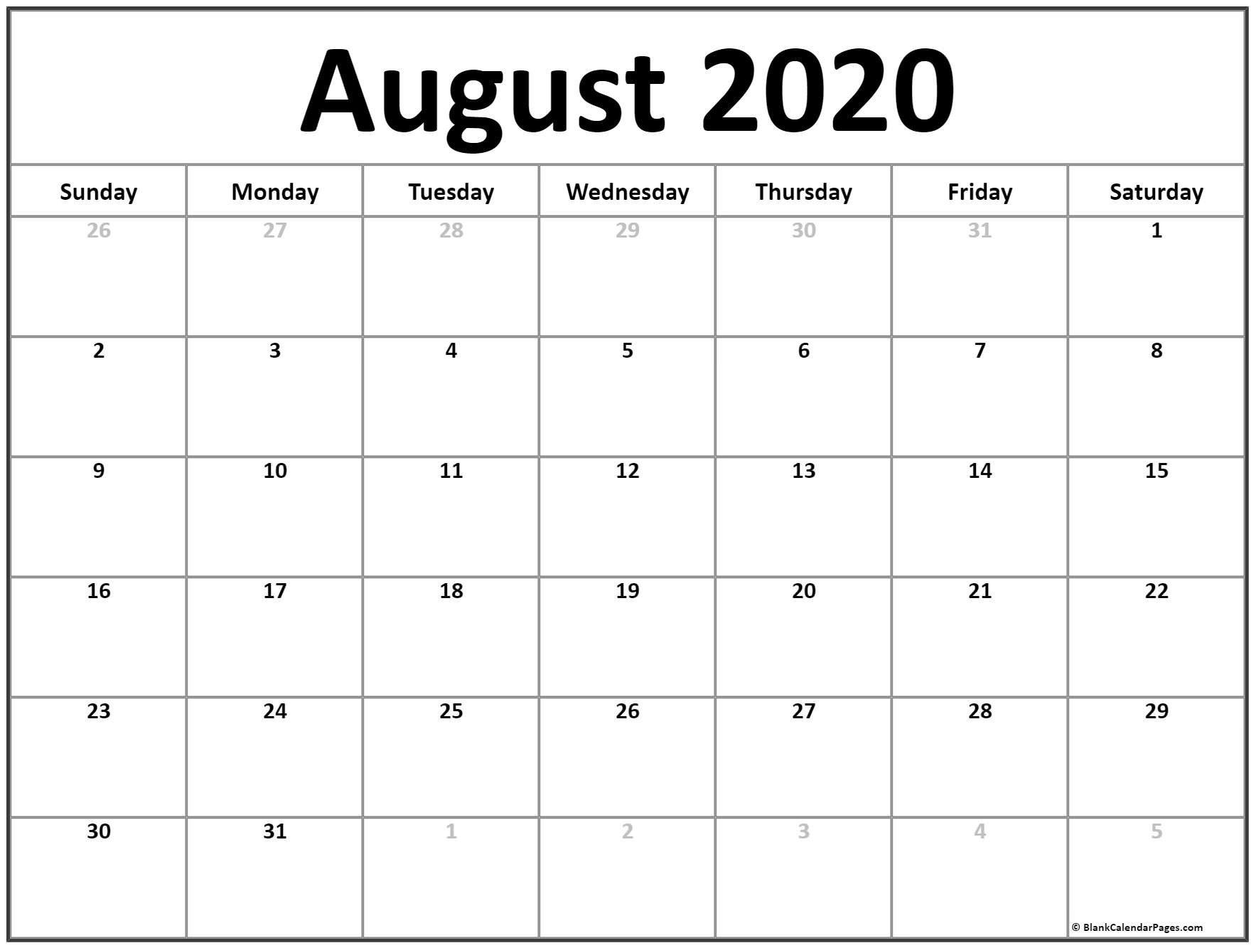 August 2020 Calendar | Free Printable Monthly Calendars Small Printable Blank Calendar