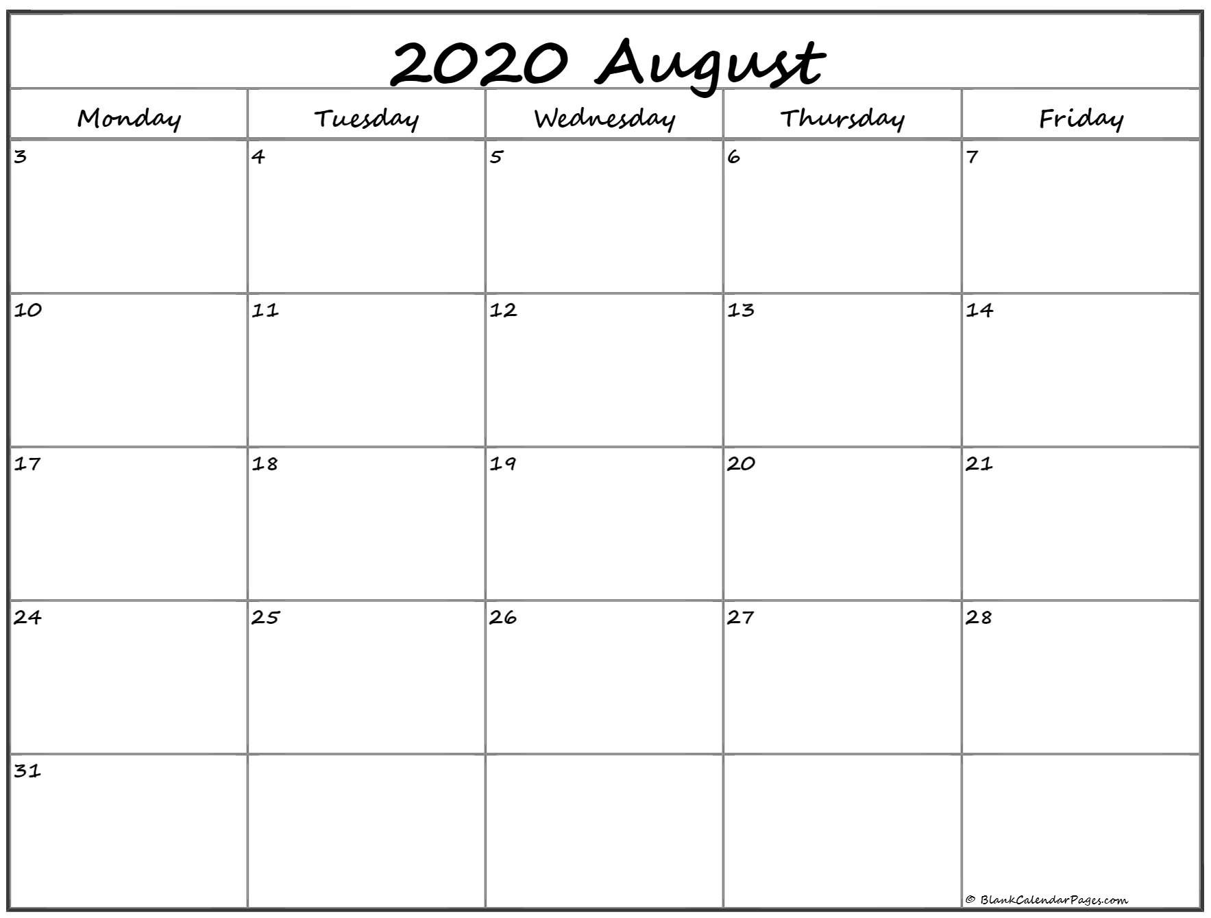 August 2020 Monday Calendar | Monday To Sunday Monday To Friday Printable Monthly Calendar