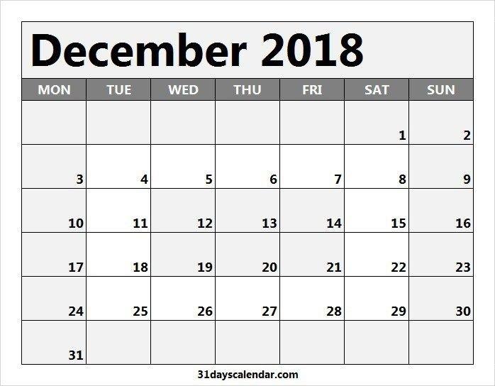 Available Dec 2018 Calendar Usa | 2020 Calendar Template 31 Day Monthly Schedule