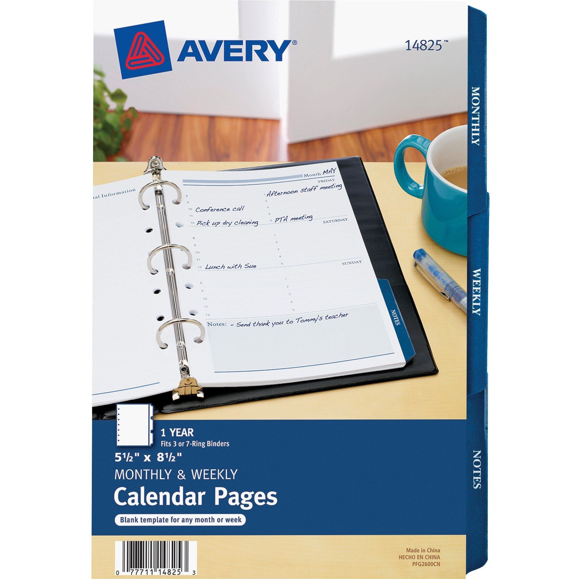 "Avery 5.5"" X 8.5"" Mini Calendar Pages, Fits 3-Ring/7-Ring 8.5 X 5.5 Calendar"