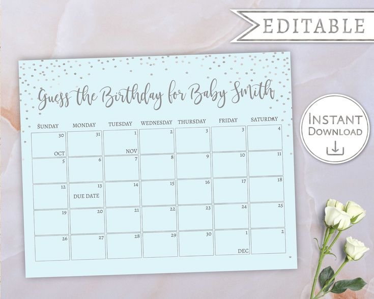 Baby Due Date Calendar, Guess Babys Birthday, Baby Boy Guess The Baby Date Calendar