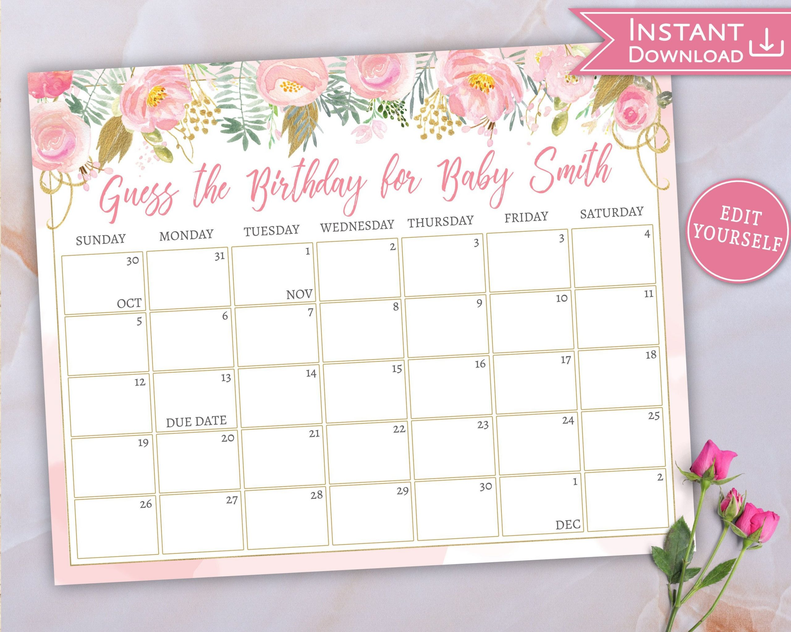 Baby Due Date Calendar, Guess Baby'S Birthday, Floral Pink Printable Guess The Due Date