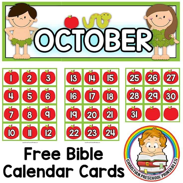 Bible Calendar Printables - Christian Preschool Printables Free Calendar With Number Cards