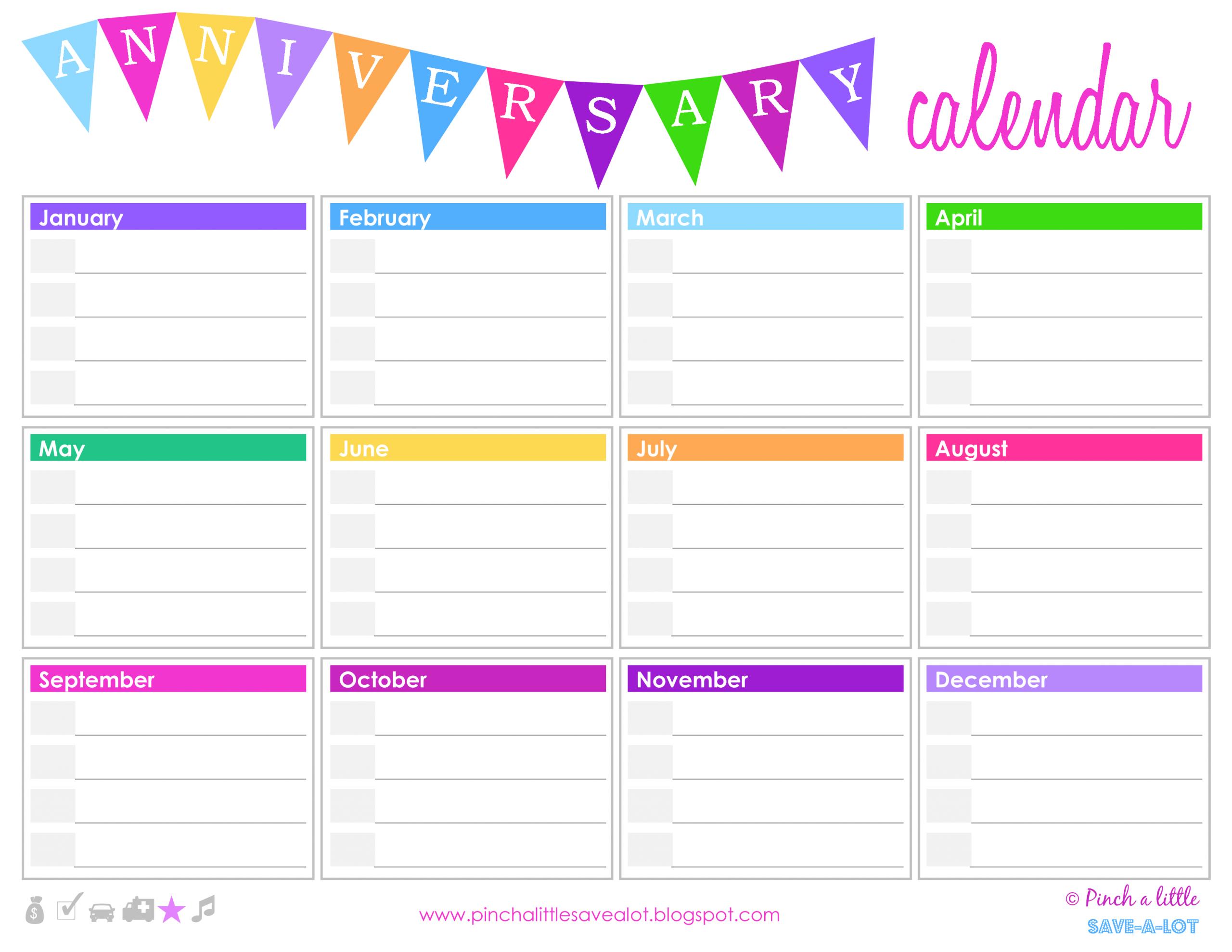 Birthday Anniversary Calendar | Templates At Fillable Birthday Calendar Free