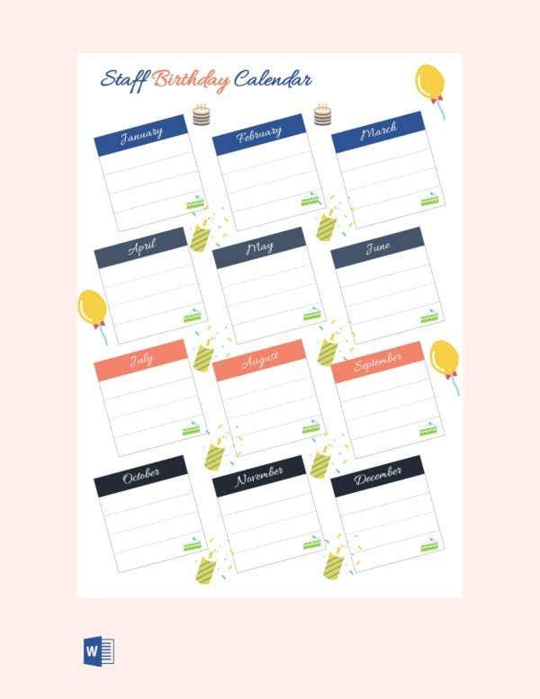 Birthday Calendar - 11+ Free Word, Pdf, Psd Documents Printable Birthday Calendar Free
