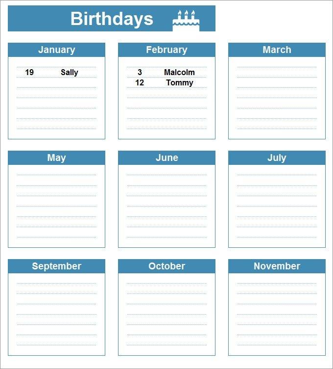 Birthday Calendar - Calendar Template | Free & Premium Free Calendar Template For Birthdays