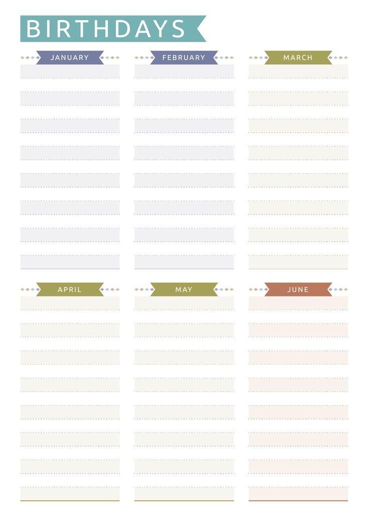 Birthday Calendar Printable Template On Two Pages. 12 12 Month Birthday Calendar Template