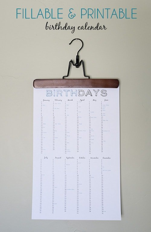 Birthday Reminder Chart (Free Printable) Printable Birthday Calendar Free