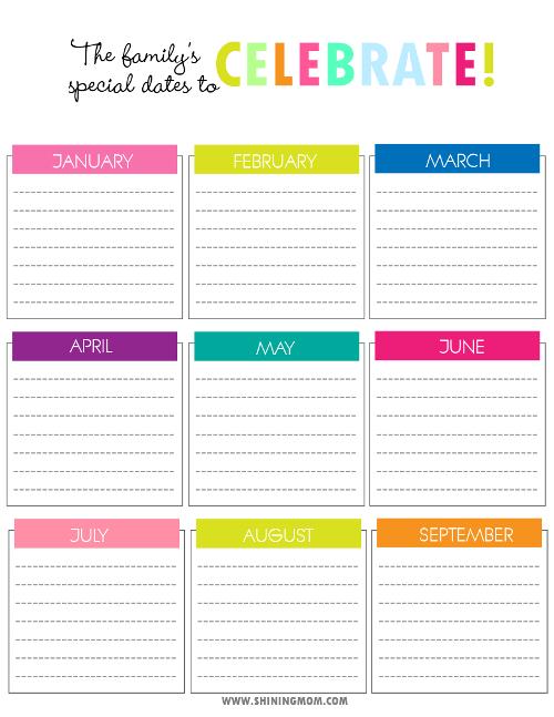 Birthday+Reminder+Chart+Printable | Calendario De Cumpleaños Printable Birthday Calendar Free