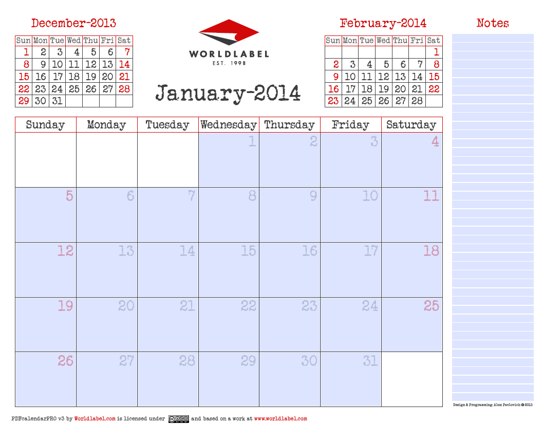 Blank 2014 Editable Fillable Pdf Calendar Pro | Free Blank 31 Day Calendar Form