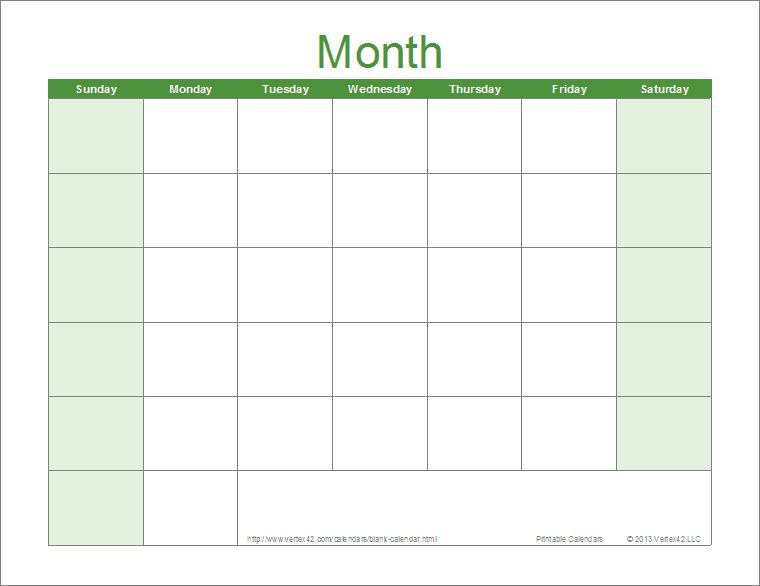 Blank 30 Day Calendar Download | Blank Calendar Template 30 Day Printable Schedule
