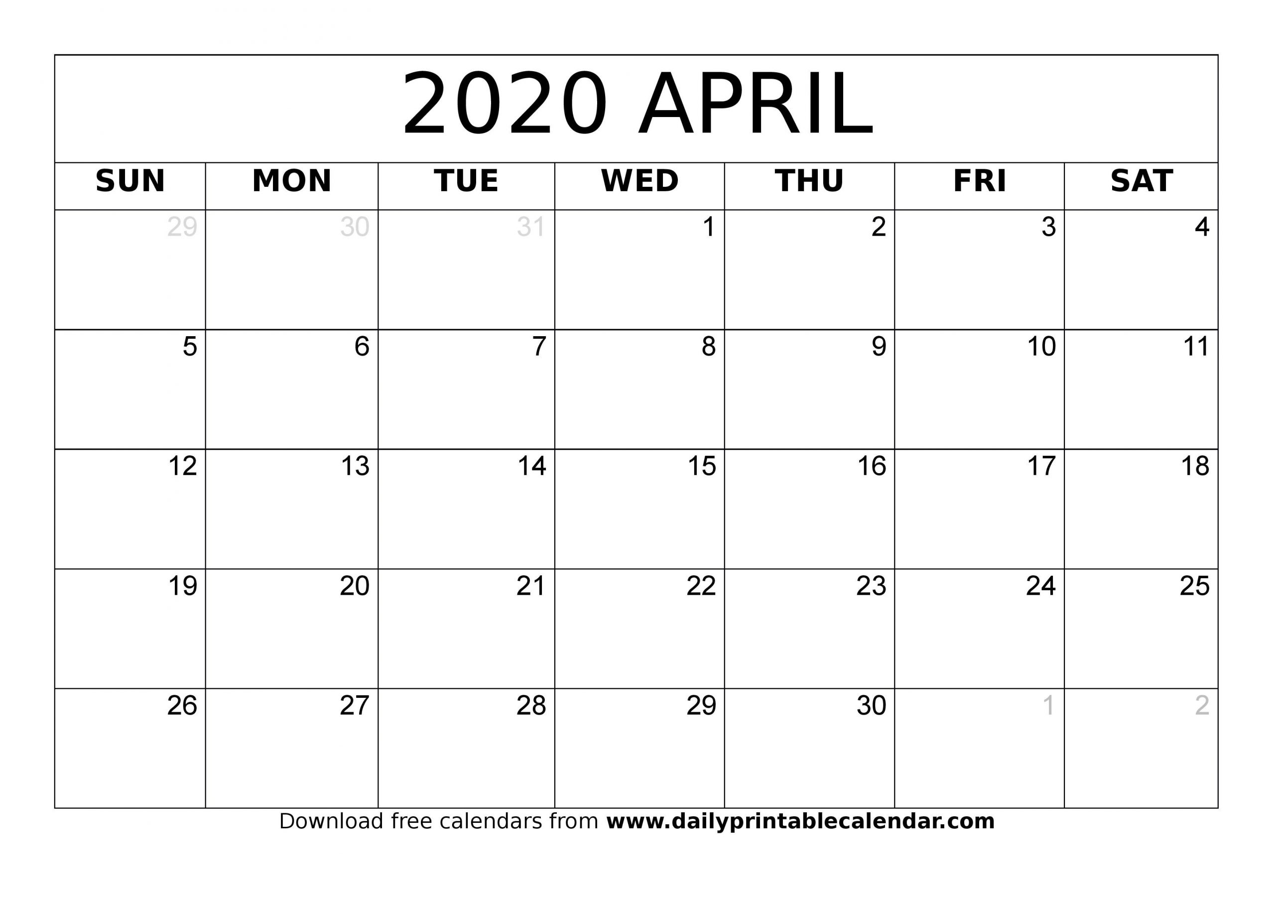 Blank April 2020 Monthly Calendar - Planner Templates 3 Month Calendar April Free Printable