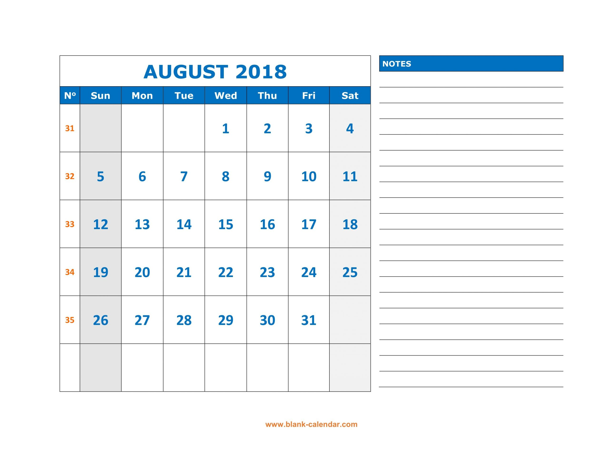 Blank Calendar August Mon-Fri | Calendar Template Mon-Fri Monthly Calendar Template