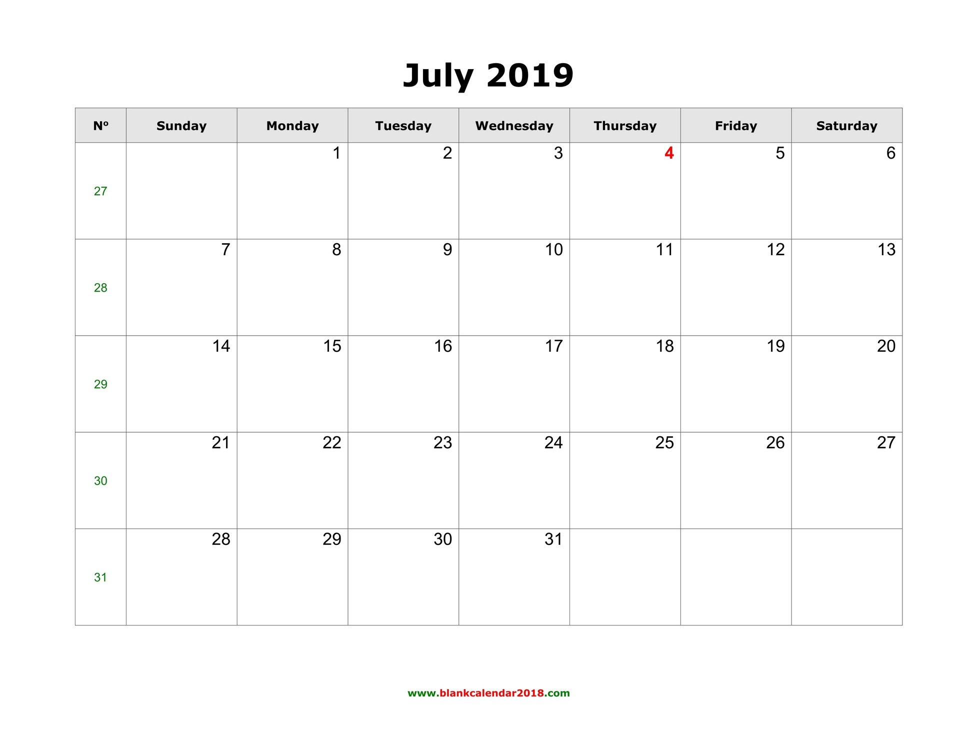 Blank Calendar For July 2019 Print Free Calendars Without Downloading 2018