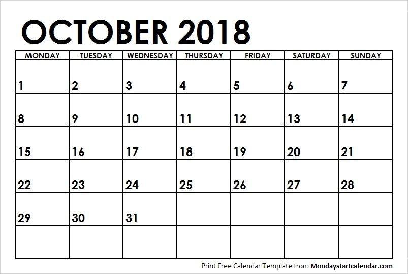 Blank Calendar October 2018 Monday Start | Calendar March School Calendar Monday Thru Friday