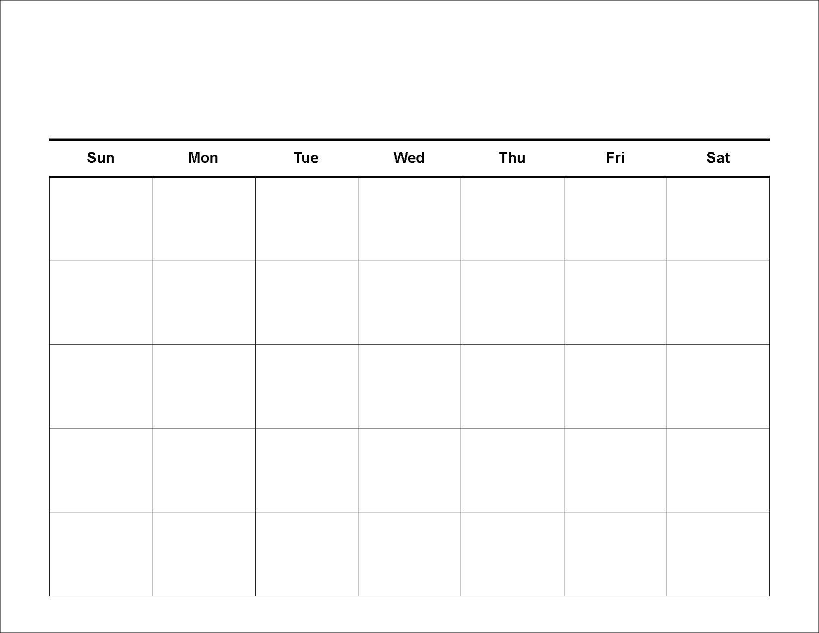 Blank Calendar - Printable 2016 Calendar Templates Blank 5 Week Calandar