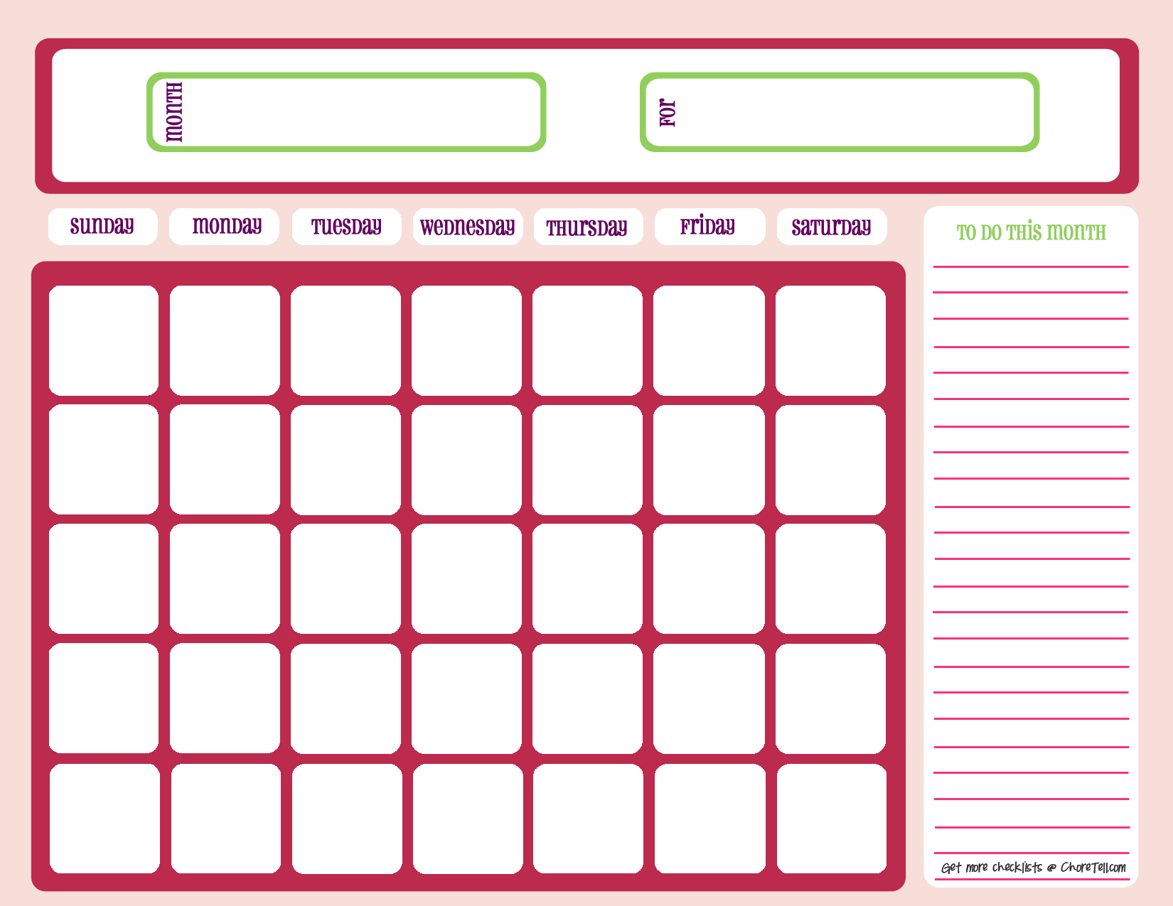 Blank Calendar Printable Free Pdf | Images Printable Blank Free Fill In Calendars