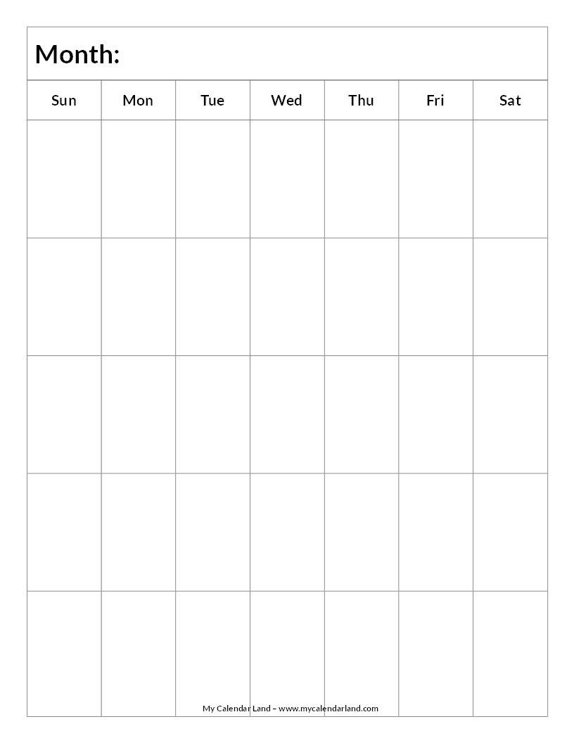 Blank Calendar Printable - My Calendar Land Calendar Fill In Template
