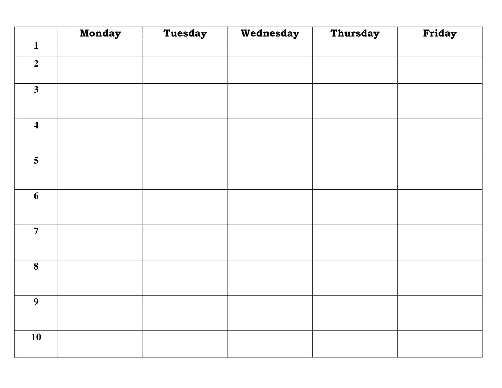 Blank Calendar Template 5 Day - Calendar Inspiration Design Five Day Calendar Template