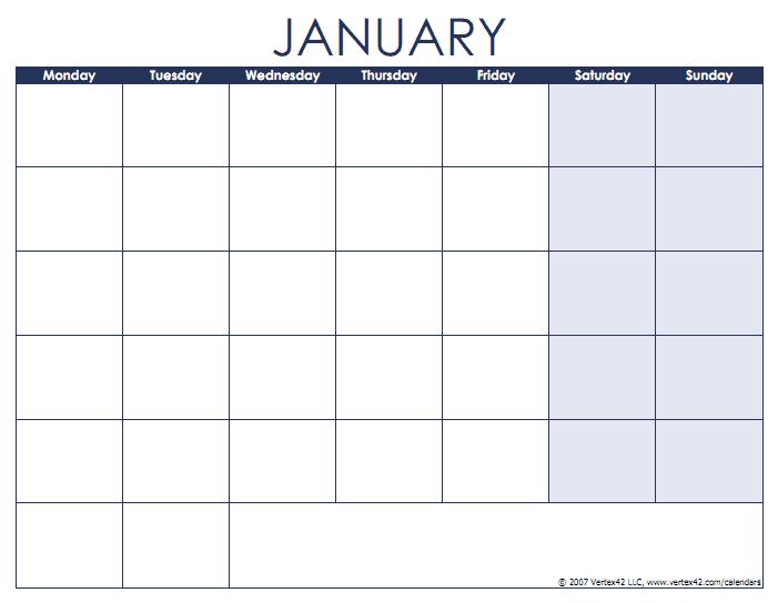 Blank Calendar Template - Free Printable Blank Calendars Monday To Friday Printable Monthly Calendar