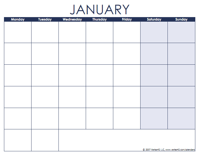 Blank Calendar Template - Free Printable Blank Calendars Sunday Thru Saturday Schedule Layout
