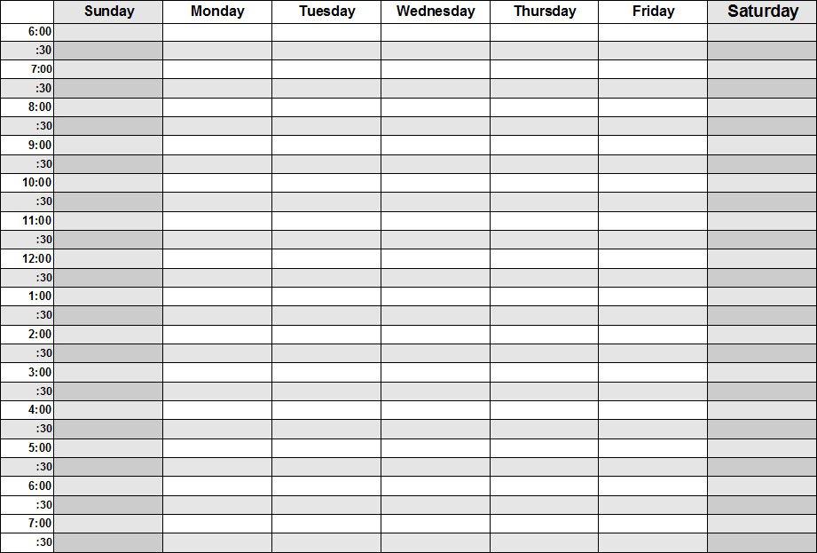 Blank Calendars - Weekly Blank Calendar Templates Blank Time Table For 7 Days