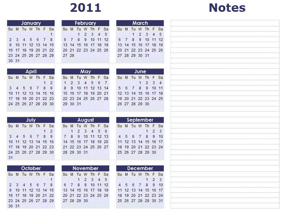 Blank Calendars - Yearly Calendar Forms And Templates Free 2016 Calendar With Room For Taking Notes