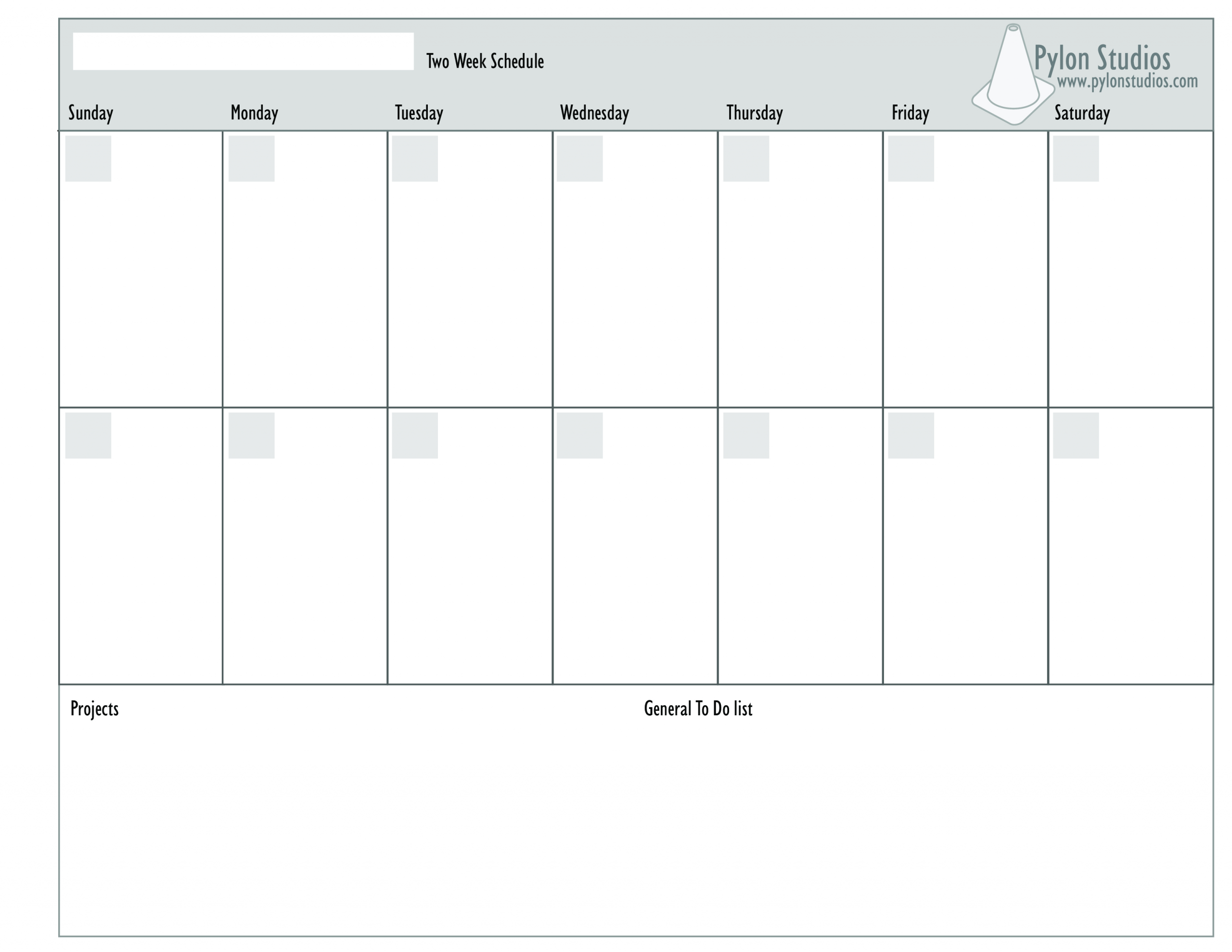 Blank Calender Two Weeks | Example Calendar Printable 2 Weeks Calendar Printable
