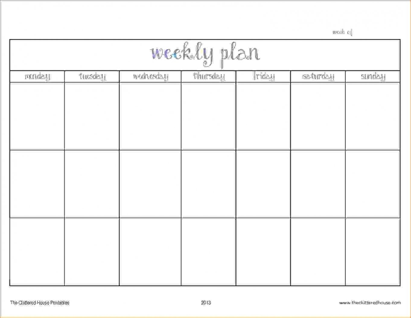 Blank Days Of The Week Calendar | Free Letter Templates Blank 2 Week Calendar