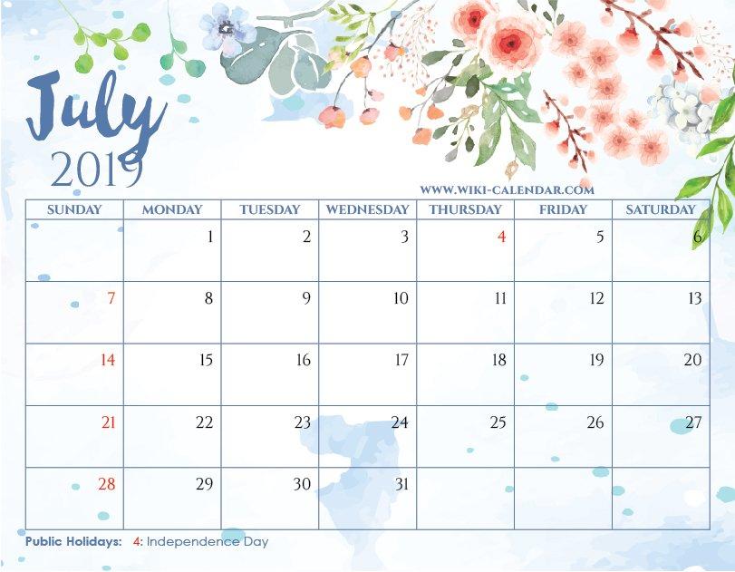 Blank July 2019 Calendar Printable On We Heart It 3 Month Calendar April Free Printable