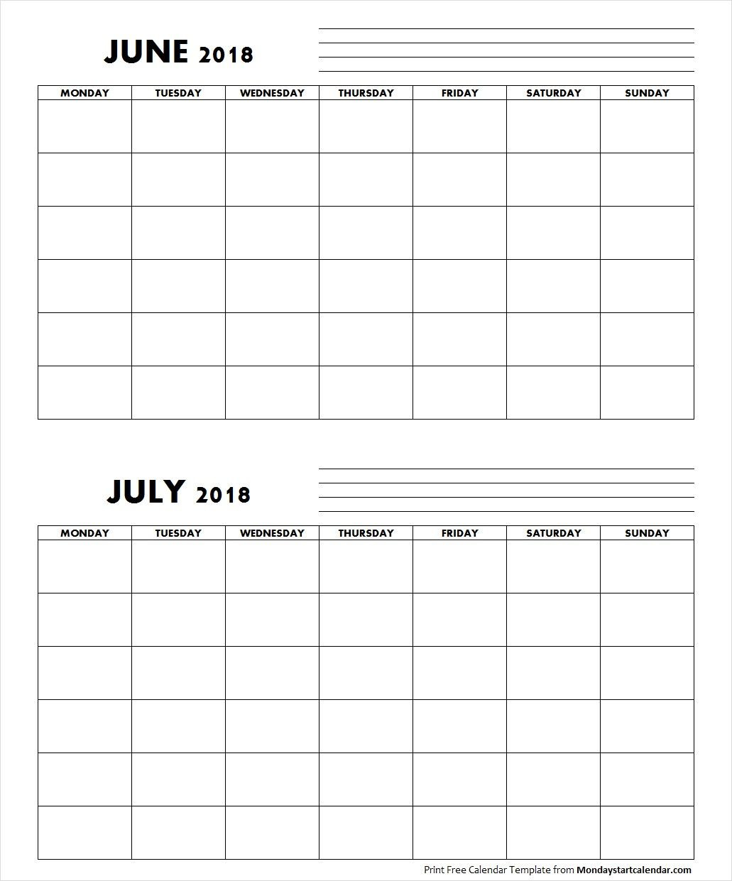 Blank June July 2018 Calendar Monday Start | Free Blank Sunday Through Saturday Calendar
