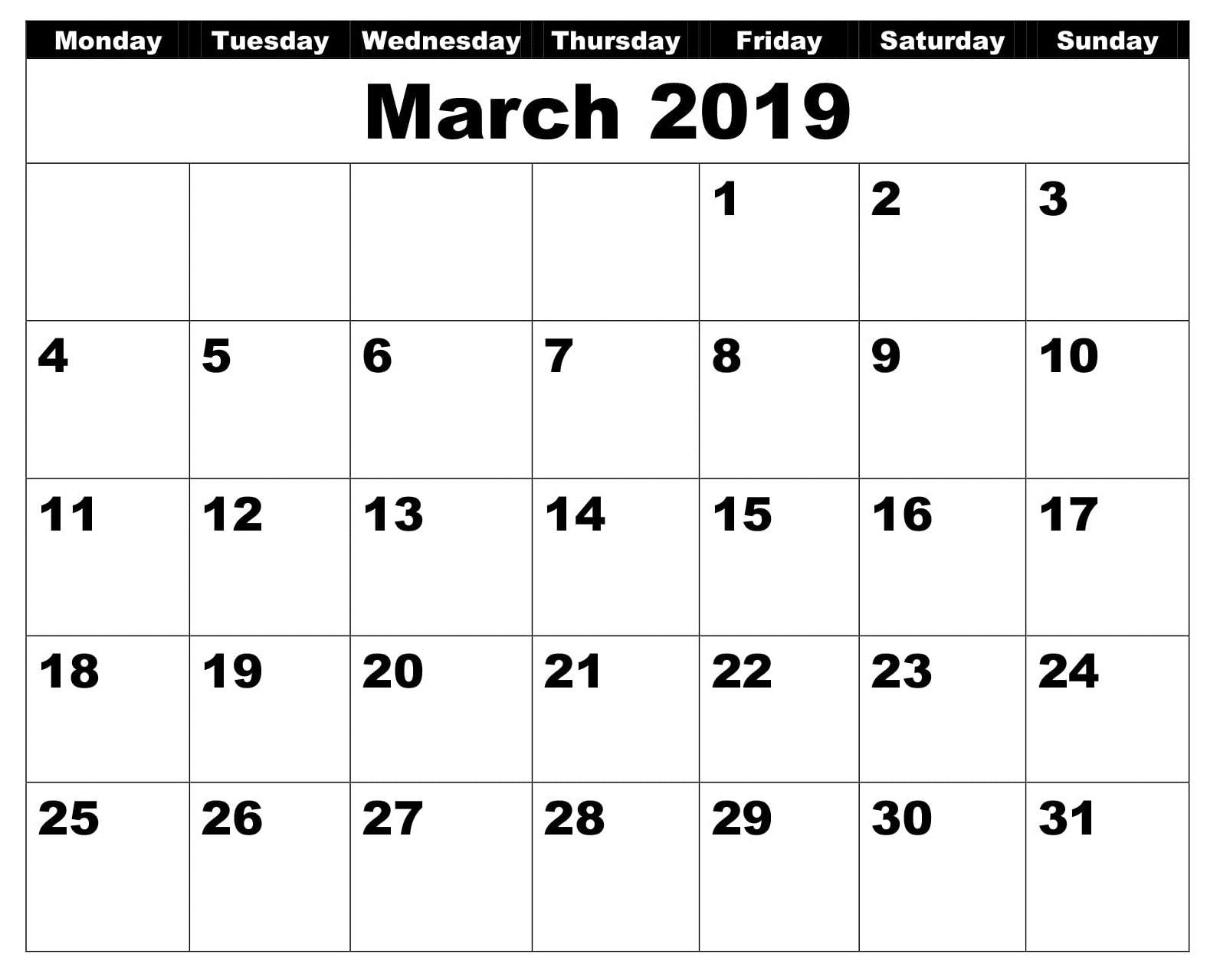 Blank March 2019 Calendar Business | 2019 Calendar Blank Sunday Through Saturday Calendar