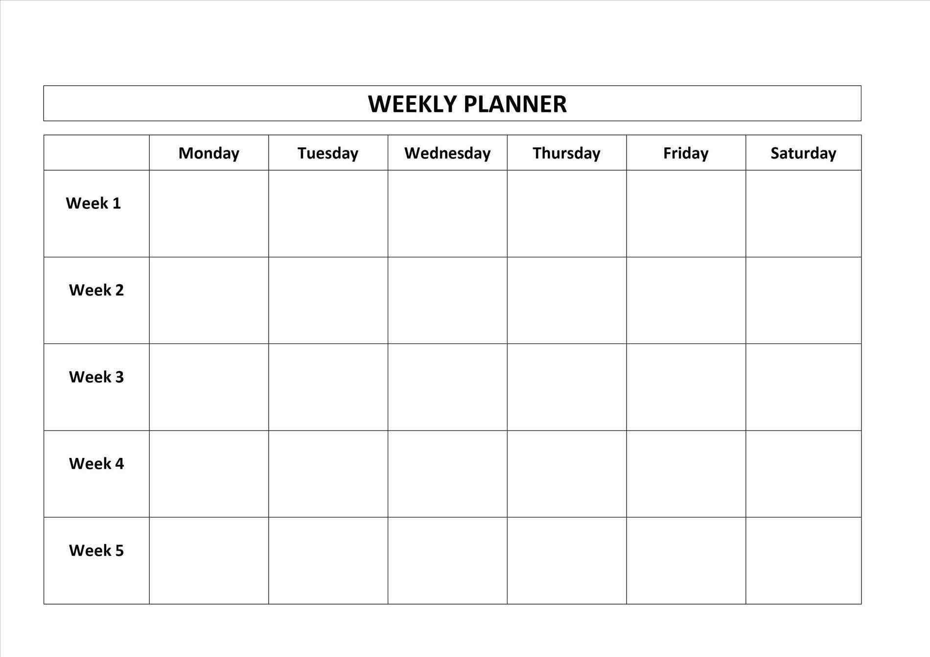 Blank Monday Through Friday Calendar   Calendar Template Monday Thru Friday Printable Calendar
