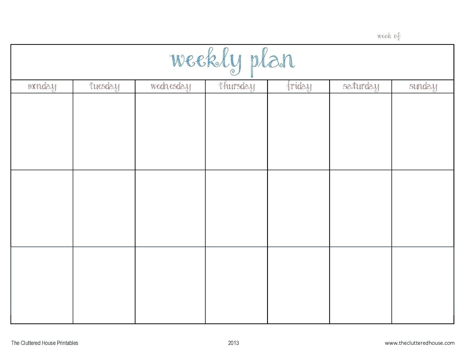 Blank Monday Through Friday Calendars   Calendar Template Free Printable Mondat Through Friday Weekly Calendar
